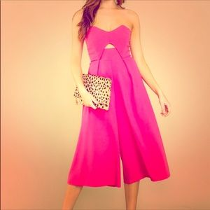 Boutique strapless hot pink jumpsuit